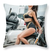 Girl And Motorcycles Throw Pillow