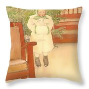 Girl And Rocking Chair Throw Pillow