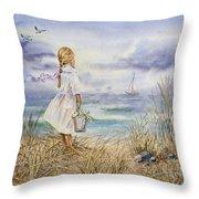 Girl At The Ocean Throw Pillow