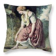 Girl At A Conduit Throw Pillow