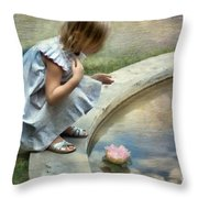 Girl At The Pond Throw Pillow
