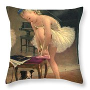 Girl Ballet Dancer Ties Her Slipper With Boston Terrier Dog Throw Pillow