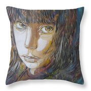 Girl By C215 Throw Pillow