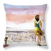 Girl Enjoying The View Throw Pillow