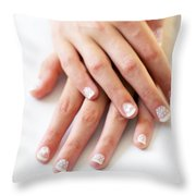 Girl Hands Throw Pillow by Carlos Caetano