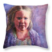 Girl In A Purple Sweater Throw Pillow