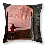 Girl In A Red Hat Throw Pillow