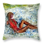 Girl In A Red Swimsuit Throw Pillow
