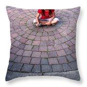 Girl In Circle Throw Pillow