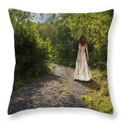 Girl In Country Lane Throw Pillow