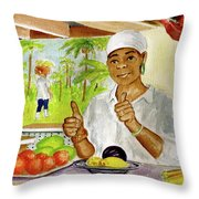 Girl In Dominica Mountains Throw Pillow