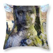 Girl In Green Throw Pillow
