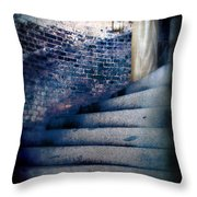 Girl In Nightgown On Circular Stone Steps Throw Pillow