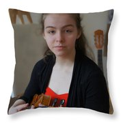 Girl In Red And Black With A Violin Throw Pillow