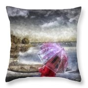 Girl In Red Coat Throw Pillow