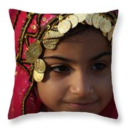 Girl In Red Throw Pillow