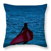 Girl In Red Float Throw Pillow