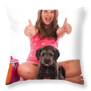 Girl In Swimsuit At The Beach Showing Thumbs Up Throw Pillow