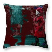 Girl In The Blood-stained Coat Throw Pillow