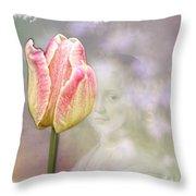 Girl In The Garden Throw Pillow