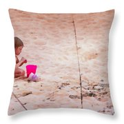 Girl In The Sand Throw Pillow