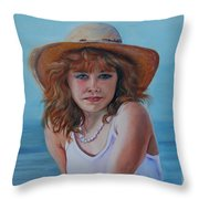 Girl In The Straw Hat Throw Pillow