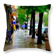 Girl In The Yellow Raincoat Rainy Stroll Through Streets Of The City Montreal Scenes Carole  Throw Pillow