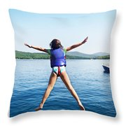 Girl Jumps In The Lake Throw Pillow