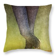 Girl Leaning Against Wall Throw Pillow by Birgit Tyrrell