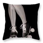 Girl Legs In Roller Skates Artistic Concept Throw Pillow