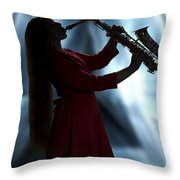 Girl Musician Playing Saxophone In Silhouette Color 3353.02 Throw Pillow