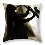 Girl Musician Playing Saxophone In Silhouette Sepia 3353.01 Throw Pillow