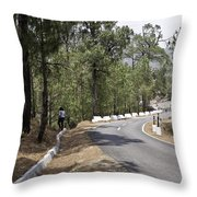 Girl On A Mountain Highway Road Throw Pillow