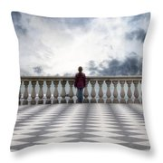 Girl On A Terrace Throw Pillow
