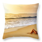 Girl On Seashore  Throw Pillow