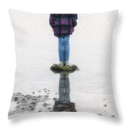 Girl On Stone Throw Pillow