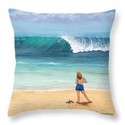 Girl On Surfer Beach Throw Pillow