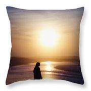 Girl On The Beach At Sunrise Throw Pillow