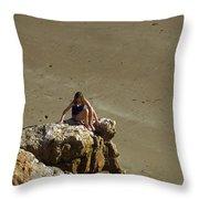 Girl On The Rocks - Compton Bay Throw Pillow