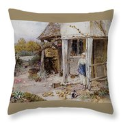 Girl Outside A Cottage Throw Pillow