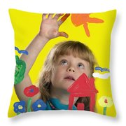 Girl Painting On Glass Throw Pillow