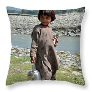 Girl Poses For Camera  Throw Pillow