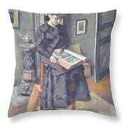 Girl Reading A Book Throw Pillow