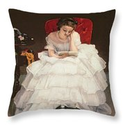 Girl Reading Throw Pillow by Alfred Emile Stevens