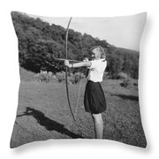 Girl Scout With Bow And Arrow Throw Pillow