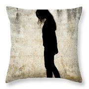 Girl Walking In Front Of Cement Wall Throw Pillow