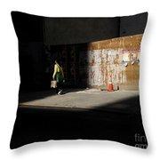 Girl Walking Into Shadow - New York City Street Scene Throw Pillow