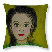 Girl With A Cross Throw Pillow