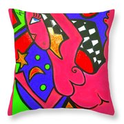 Girl With A Dimple Throw Pillow