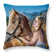 Girl With A Horse Throw Pillow